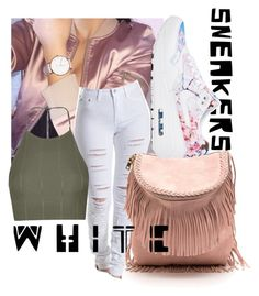 """""""Bright White Sneakers """" by beautifullyflawedmonay ❤ liked on Polyvore featuring Topshop and NIKE"""