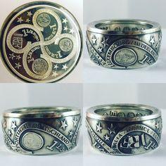 Coin Jewelry, Jewlery, Ring Bracelet, Bracelets, Hobo Nickel, Men Stuff, Coin Ring, Diy Rings, Metal Working