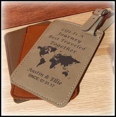 Luggage Tag Life Is A Journey Mr and Mrs Leather Vegan