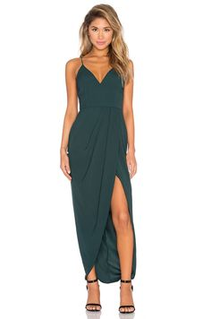 Shona Joy Stellar Drape Maxi Dress in Seaweed
