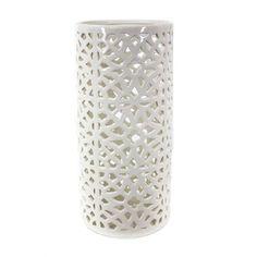 Pierced Ceramic Umbrella Stand, 8' x 8' x 18', White * Tried it! Love it! Click the image. : Umbrella Racks