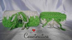 Coppia cestini portatutto in fettuccia di cotone bicolore : Scatole, cofanetti di caracteristica
