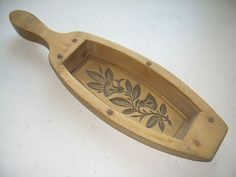 grrrreat early mold!! overall length 12.75 x 3.625 in wide. Great carved flowers!! bottom section attached using wooden dowels