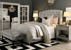 HGTV Home Custom Upholstered Paris Arched Winged Bed by Bassett Furniture - contemporary - bedroom - Bassett Furniture