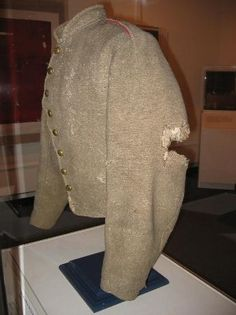 The under coat that General Stonewall Jackson was wearing when being shot by his own sentries displayed in the The Museum of the Confederacy, Richmond, VA.