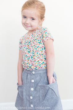 Sewing for Kindergarten-Hopscotch skirt & shirt