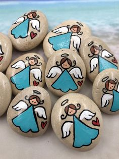 Pocket Pebble Angels Bag of 10 Girl Pocket Angel Minis Pocket Tokens Pocket Pebbles First Commun&; Pocket Pebble Angels Bag of 10 Girl Pocket Angel Minis Pocket Tokens Pocket Pebbles First Commun&; Rock Painting Ideas Easy, Rock Painting Designs, Paint Designs, Rock Painting Kids, Rock Painting Patterns, Children Painting, Pebble Painting, Pebble Art, Stone Painting