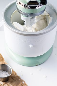 Dairy Free Salty Honey Ice Cream Recipe Made With KitchenAid® Stand Mixer  And Ice