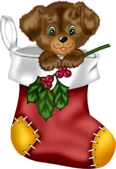 Christmas Red Stocking with Puppy PNG Clipart