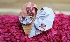 Banknote Fold Heart - Money Gift to the Wedding, DIY Origami Tutorial English - Geldgeschenke ideen - Diy Origami, Design Origami, Origami Simple, Origami Love Heart, Origami Star Box, Money Origami, Origami Butterfly, Useful Origami, Origami Stars