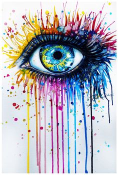 30 Expressive Drawings of Eyes Svenja Jödicke – Mind blowing eye art by the German artist with different mediums such as watercolor, acrylics, etc. Arte Pop, Painting & Drawing, Watercolor Paintings, Watercolor Eyes, Colorful Paintings, Easy Paintings, Watercolors, Colorful Drawings, Acrylic Paintings