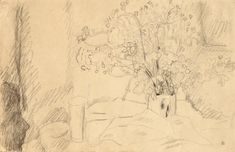 Pierre Bonnard  NATURE MORTE AUX FLEURS  stamped with the artist's monogram PB (lower right)  pencil on paper  16,8 x 25,2 cm; 6 5/8  x 9 7/8  in.  Executed circa 1930.