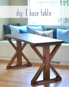 Step by step instructions for DIY x base table.  Nice design lines.