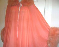 Fox Fur Peignoir Nightgown Robe 40s 50s