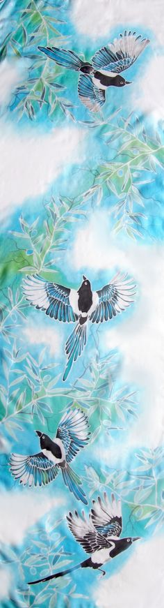 #Silk #scarf #Magpie hand painted by Luiza #Malinowska #Minkulul. Four Magpies on #pastel #blue #mint background with olive branches. #Bird scarf for animal lover!