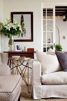 Simple Details: cozy up your white slipcovers