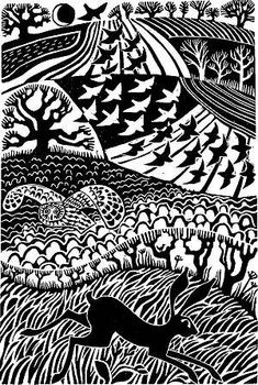 Carry Akroyd's fabulous lino cuts....great example of textures specific to areas of image