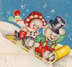 Sledding snowmen