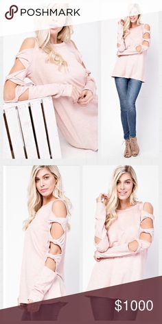 🌸COMING JAN 19🌸 Blush French Terry Top. S-M-L Brushed French Terry With Twisted Detail Sleeve.  Available in S-M-L Made in USA 🇺🇸  1 small reserved  1 large reserved Tops Tunics