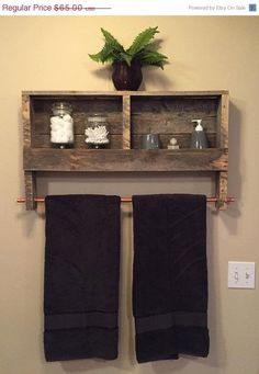 Rustic Wood Pallet Furniture Outdoor Furniture Double Towel Rack Bathroom Shelf Rustic Home Decor Wall Shelf by BandVRusticDesigns on Etsy by georgette