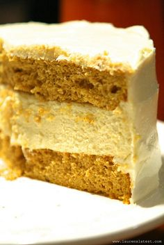 Pumpkin Cheesecake Cake layers of Pumpkin Cake from a cake mix with Cheesecake in between and Cream Cheese Frosting) No Bake Desserts, Just Desserts, Delicious Desserts, Dessert Recipes, Yummy Food, Dessert Ideas, Yummy Recipes, Cooking Recipes, Cheesecake Cake