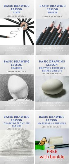 Basic Drawing Series. Five downloadable PDF lessons, free materials list, only $4.49