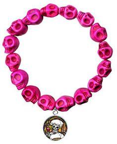 Dead Head Chef Charm Hot Pink Howlite Stone Skulls Stretch Bracelet
