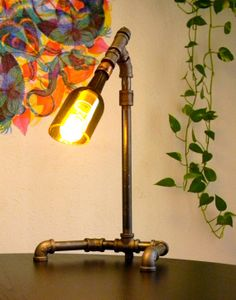 Industrial Pipe Lamp With Vintage Bulb and Wine by RevivalGarage