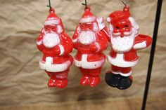 Lot of 3 vintage retro plastic Santa Claus by RuffByMargo on Etsy, $10.00