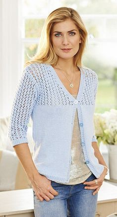af226f4bf4a7b Knitting pattern for Lace topped cardigan with elbow length sleeves in  Stylecraft Cotton Classique DK.