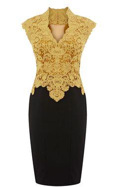 Karen Millen Beautiful cotton lace pencil dress yellow SO PRETTY! Sheer Dress, Dress Skirt, Dress Up, Dress Lace, Chiffon Skirt, Gold Dress, Tank Dress, Karen Millen, Lace Party Dresses