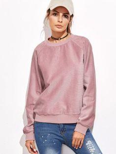 Pink Raglan Sleeve Cord Sweatshirt