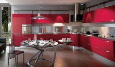Cocina moderna color roja