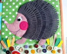 Hedgehog quiet book page Diy Quiet Books, Baby Quiet Book, Felt Quiet Books, Quiet Book Patterns, Felt Patterns, Felt Crafts, Diy And Crafts, Fidget Blankets, Sensory Book