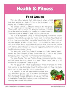 This Reading Comprehension Worksheet - Food Groups is for teaching reading comprehension. Use this reading comprehension story to teach reading comprehension. Reading Comprehension Worksheets, Reading Fluency, Reading Passages, Reading Skills, Ielts Reading, Vocabulary Worksheets, Have Fun Teaching, Teaching Reading, Reading Activities