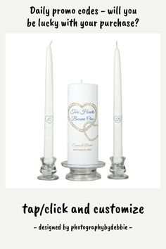 Candle Unity Set-Two Hearts Become One - tap, personalize, buy right now! #affiliatelink #wedding #tapers #pillars #personalized Wedding Unity Candles, Taper Candles, Candle Shop, Two Hearts, Custom Design, Wedding Day, Artisan, Pi Day Wedding, Marriage Anniversary