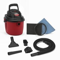 Shop-Vac 2036000 Peak Hp Wet Dry Vacuum, Small, Red/Black for sale online Car Cleaning Kit, Wet Dry Vacuum Cleaner, Vacuum Cleaners, Black Feature Wall, Vacuum Cleaner Accessories, Desktop, Der Computer, Upholstery Cleaner, Wet And Dry