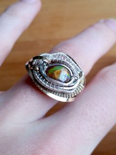 Heady Wire Wrap  Ring Size 8  Fire agate  Kuiper by BstilesDesign