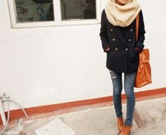 Cowl scarf, navy jacket, skinny jeans and boots.  A new classic