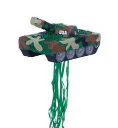 This army tank Pinata is perfect for your camo themed birthday party. Decorated in green, brown, and gray with ribbon streamers. 17 in. L x 9.5 in. W x 6.5 in. H Sweets (sold separately) Please Note: