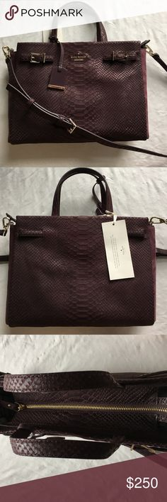 Kate spade snakeskin purse New Kate spade snakeskin purse in deep purple color. Optional crossbody adjustable strap. Gold hardware. Suede sides. Absolutely stunning bag. Brand new with care card and care tag, but price tag was ripped off. kate spade Bags Crossbody Bags