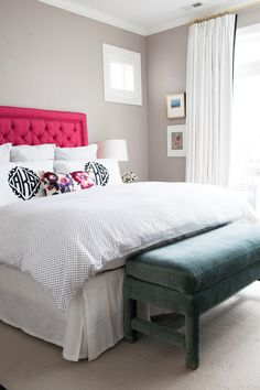 Bedroom inspiration. Paint: Benjamin Moore Plymouth Rock.