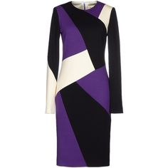 Fausto Puglisi Knee-length Dress ($925) ❤ liked on Polyvore featuring dresses, purple, pocket dress, long sleeve knee length dress, colorful dresses, black zipper dress and purple long sleeve dress