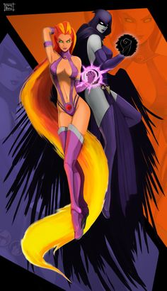 Starfire and Raven Never liked Star's original outfit, but it is what it is. :/