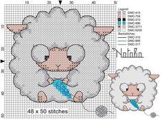Como bordar ovejas en punto de cruz