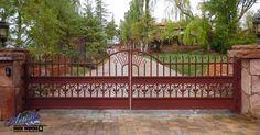 Ornate Automatic Driveway Gate Model: DG0358 Wrought Iron Driveway Gates, Double Gate, Garden Bridge, Outdoor Structures, Model, Inspiration, Furniture, Iron, Biblical Inspiration