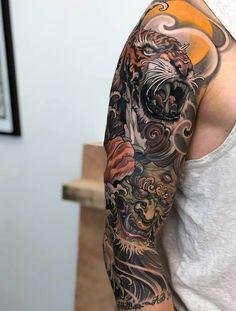 Black and gray tattoos japanese sleeve tiger, japanese. - Black and gray tattoos japanese sleeve tiger, japanese sleeve tattoos wom - Tiger Tattoo Sleeve, Hannya Tattoo, Dragon Sleeve Tattoos, Irezumi Tattoos, Sleeve Tattoos For Women, Tattoo Sleeve Designs, Tattoos For Guys, Asian Tattoo Sleeve, Geisha Tattoo Sleeve