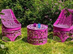 Intricate recycled oil drum furniture is cut to look like lace - Democratic Underground Barrel Furniture, Outdoor Furniture, Outdoor Decor, Backyard Furniture, Ensemble Patio, 55 Gallon Drum, Metal Barrel, Oil Barrel, Metal Drum