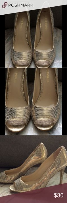 Enzo Angiolini  Gold Peep Toe Pumps Sz 7.5 M Gently Used-Enzo Angiolini Gold Metallic Sz 7 1/2 M▪️A small scruff mark on top of back of heel- see photo, otherwise Great Condition▪️❌No Trades❌ Enzo Angiolini Shoes Heels