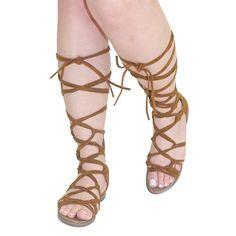 Rita-72 Tan Tie Lace Up Gladiator Flat Sandals